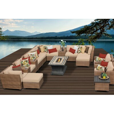 Laguna 17 Piece Fire Pit Seating Group with Cushion Fabric: Wheat