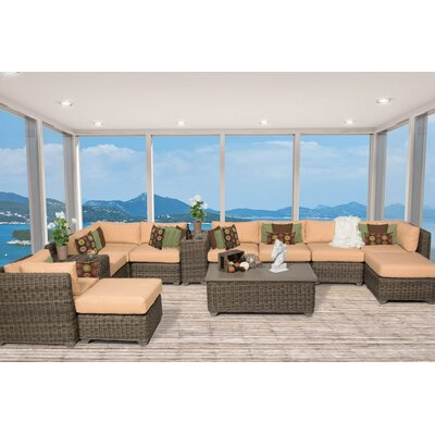 Cape Cod 13 Piece Sectional Seating Group with Cushion Fabric: Sesame