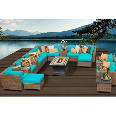 Laguna 17 Piece Fire Pit Seating Group with Cushion Fabric: Aruba
