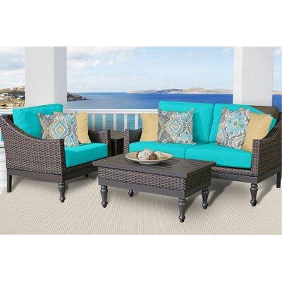Manhattan 4 Piece Deep Seating Group with Cushion Fabric: Aruba