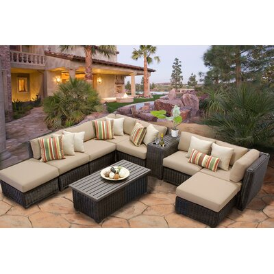 Venice 10 Piece Sectional Seating Group with Cushion Fabric: Wheat