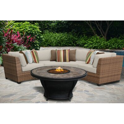 Laguna 4 Piece Fire Pit Seating Group with Cushion Fabric: Beige