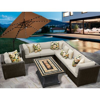 Venice 8 Piece Fire Pit Seating Group with Cushion Fabric: Beige