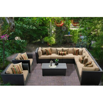 Barbados 10 Piece Sectional Seating Group with Cushion Fabric: Wheat