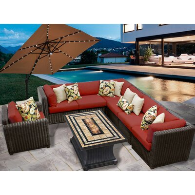 Venice 8 Piece Fire Pit Seating Group with Cushion Fabric: Terracotta