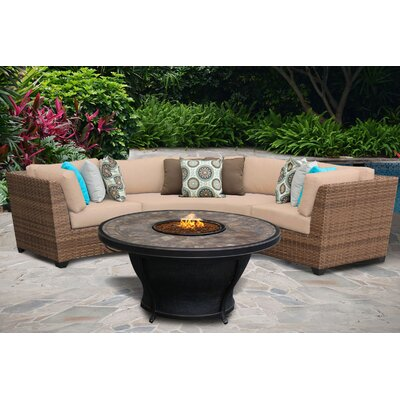 Laguna 4 Piece Fire Pit Seating Group with Cushion Fabric: Wheat