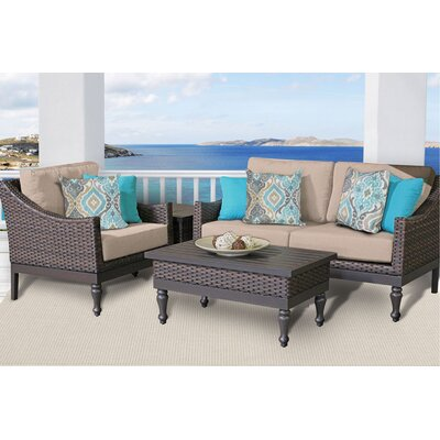 Manhattan 4 Piece Deep Seating Group with Cushion Fabric: Wheat