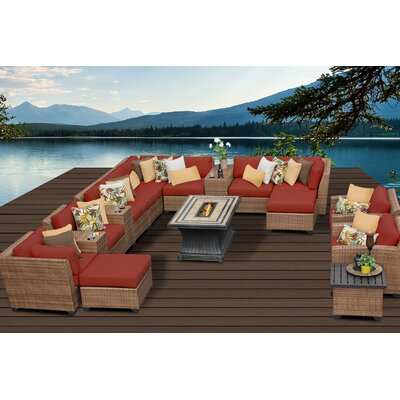 Laguna 17 Piece Fire Pit Seating Group with Cushion Fabric: Terracotta