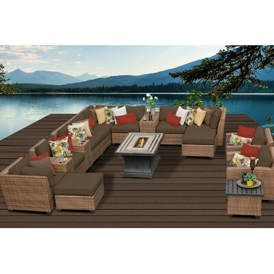 Laguna 17 Piece Fire Pit Seating Group with Cushion Fabric: Cocoa