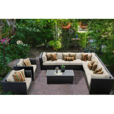 Barbados 10 Piece Sectional Seating Group with Cushion Fabric: Beige