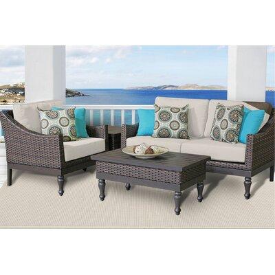 Manhattan 4 Piece Deep Seating Group with Cushion Fabric: Beige