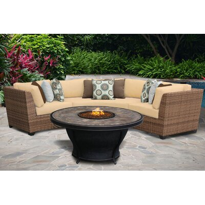 Laguna 4 Piece Fire Pit Seating Group with Cushion Fabric: Sesame