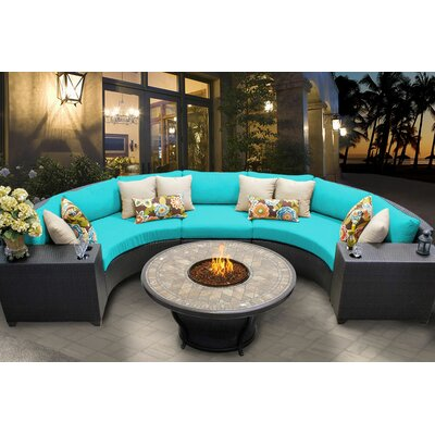 Barbados 6 Piece Fire Pit Seating Group with Cushion Fabric: Aruba