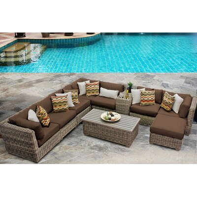 Cape Cod 10 Piece Sectional Seating Group with Cushion Fabric: Cocoa