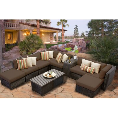 Venice 10 Piece Sectional Seating Group with Cushion Fabric: Cocoa