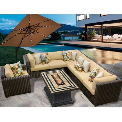 Venice 8 Piece Fire Pit Seating Group with Cushion Fabric: Sesame