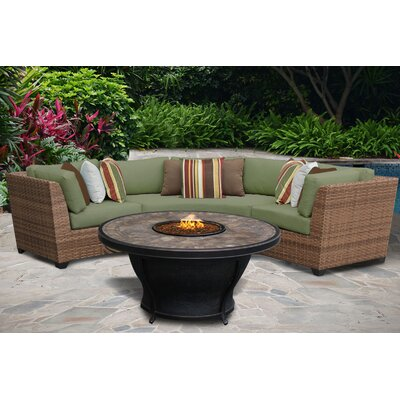 Laguna 4 Piece Fire Pit Seating Group with Cushion Fabric: Cilantro