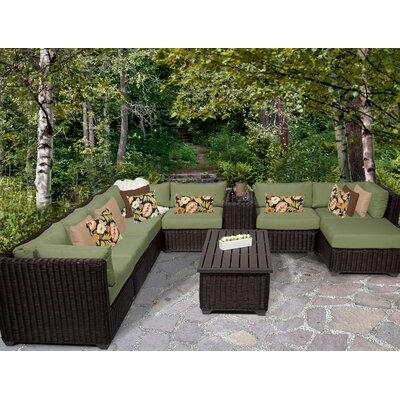 Venice 10 Piece Sectional Seating Group with Cushion Fabric: Cilantro