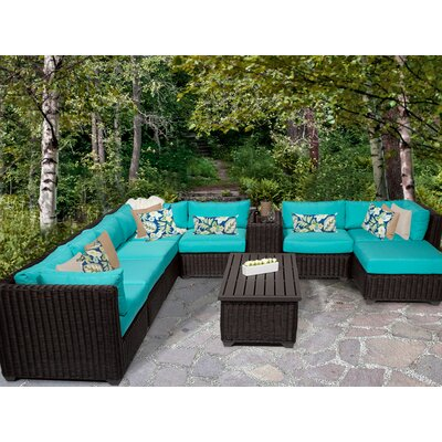 Venice 10 Piece Sectional Seating Group with Cushion Fabric: Aruba