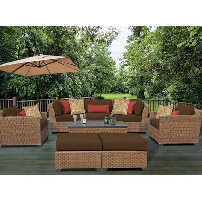 Laguna 8 Piece Rattan Conversation Set with Cushion Fabric: Cocoa