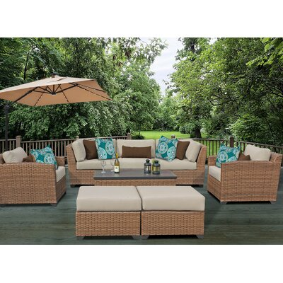 Laguna 8 Piece Rattan Conversation Set with Cushion Fabric: Beige