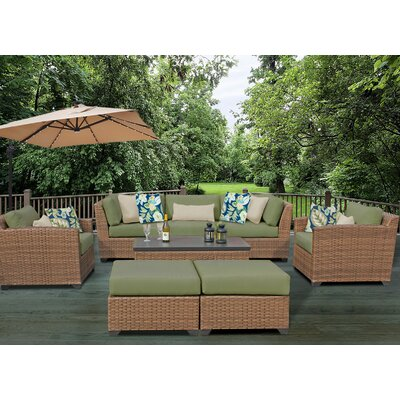 Laguna 8 Piece Rattan Conversation Set with Cushion Fabric: Cilantro