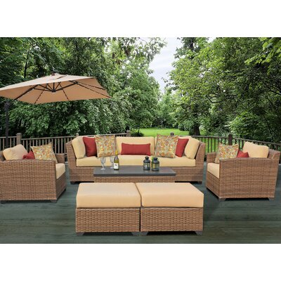 Laguna 8 Piece Rattan Conversation Set with Cushion Fabric: Sesame