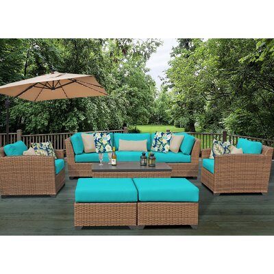 Laguna 8 Piece Rattan Conversation Set with Cushion Fabric: Aruba