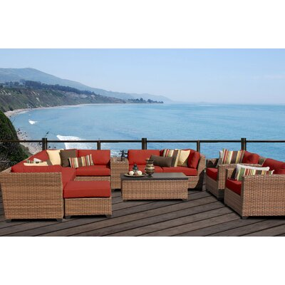 Laguna 12 Piece Sectional Seating Group with Cushion Fabric: Terracotta