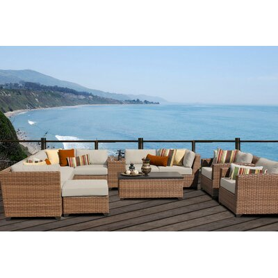 Laguna 12 Piece Sectional Seating Group with Cushion Fabric: Beige