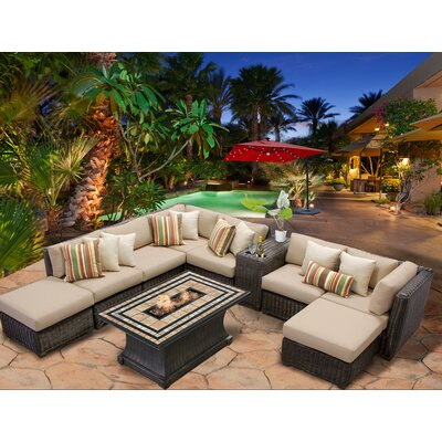Venice 10 Piece Fire Pit Seating Group with Cushion Fabric: Wheat