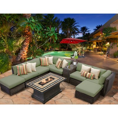 Venice 10 Piece Fire Pit Seating Group with Cushion Fabric: Cilantro