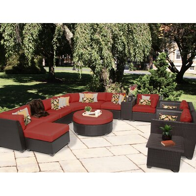 Barbados 12 Piece Sectional Seating Group with Cushion Fabric: Terracotta