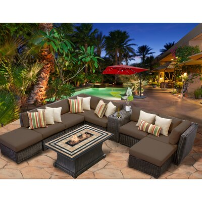 Venice 10 Piece Fire Pit Seating Group with Cushion Fabric: Cocoa