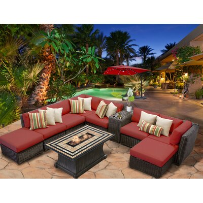 Venice 10 Piece Fire Pit Seating Group with Cushion Fabric: Terracotta