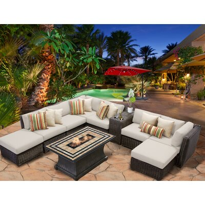 Venice 10 Piece Fire Pit Seating Group with Cushion Fabric: Beige