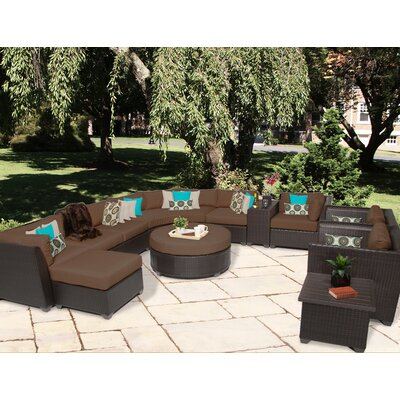 Barbados 12 Piece Sectional Seating Group with Cushion Fabric: Cocoa