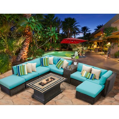 Venice 10 Piece Fire Pit Seating Group with Cushion Fabric: Aruba