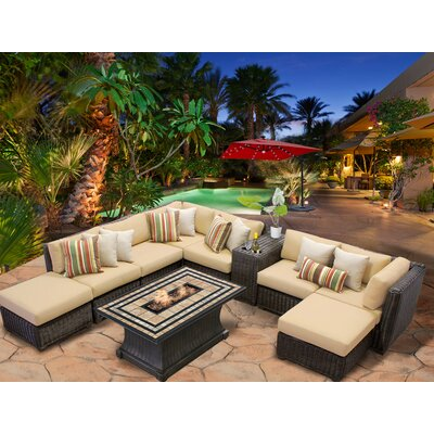 Venice 10 Piece Fire Pit Seating Group with Cushion Fabric: Sesame