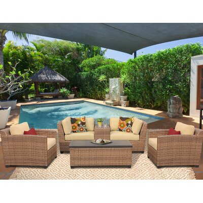 Laguna 6 Piece Deep Seating Group with Cushion Fabric: Sesame