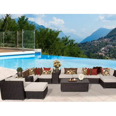 Venice 13 Piece Sectional Seating Group with Cushion Fabric: Beige