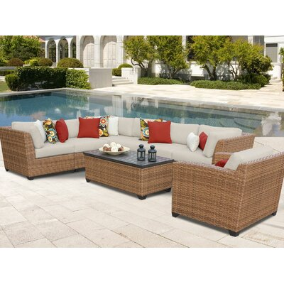 Laguna 8 Piece Sectional Seating Group with Cushion Fabric: Beige