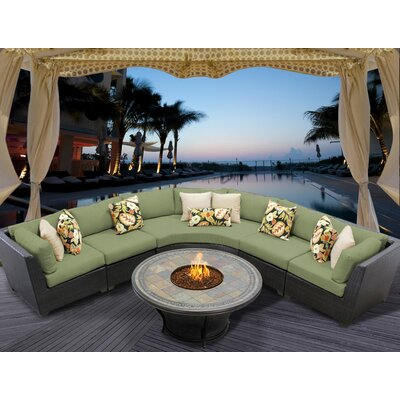 Barbados 6 Piece Fire Pit Seating Group with Cushion Fabric: Cilantro