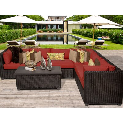 Venice 7 Piece Sectional Seating Group with Cushion Fabric: Terracotta