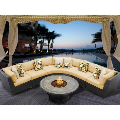 Barbados 6 Piece Fire Pit Seating Group with Cushion Fabric: Sesame