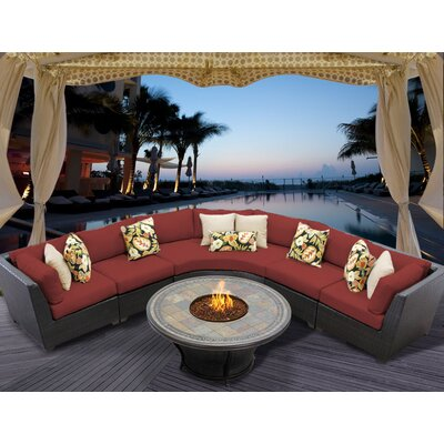 Barbados 6 Piece Fire Pit Seating Group with Cushion Fabric: Terracotta