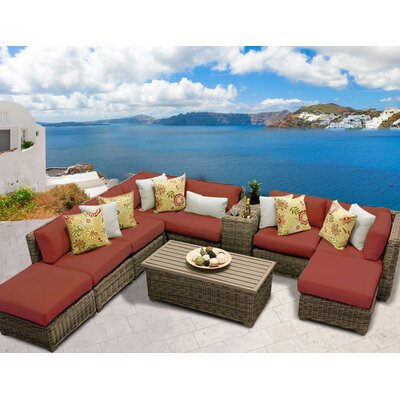 Cape Cod 10 Piece Sectional Seating Group with Cushion Fabric: Terracotta