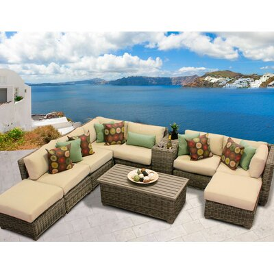 Cape Cod 10 Piece Sectional Seating Group with Cushion Fabric: Sesame