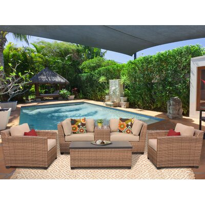 Laguna 6 Piece Deep Seating Group with Cushion Fabric: Wheat