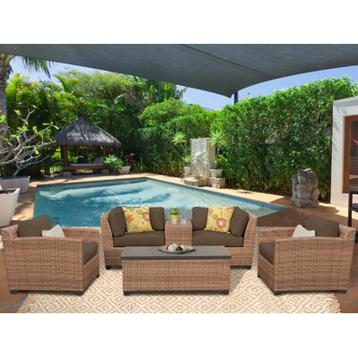Laguna 6 Piece Deep Seating Group with Cushion Fabric: Cocoa